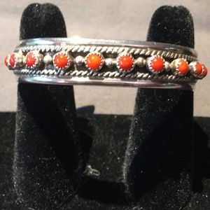 Sterling Silver Red Coral Navajo HandStamped Cuff